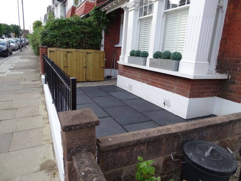Black Limestone Patio Paving with Black Pointing