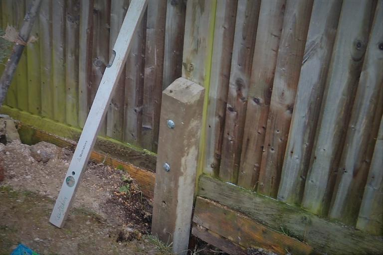 Broken Fence Post Repaired with Concrete Repair Spur Sutton