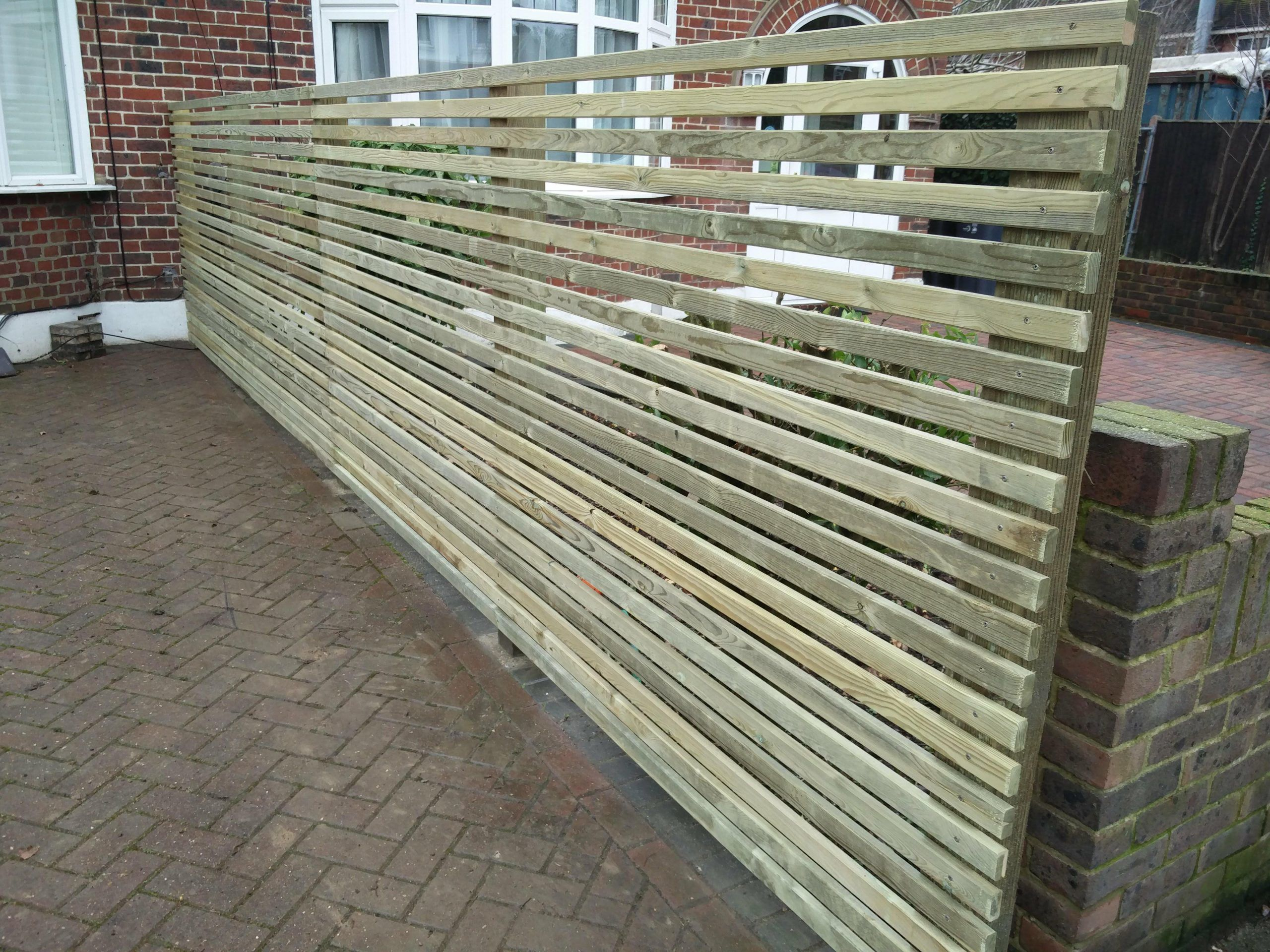 Pressure Treated Chamfered Spruce Slatted Screen Fence