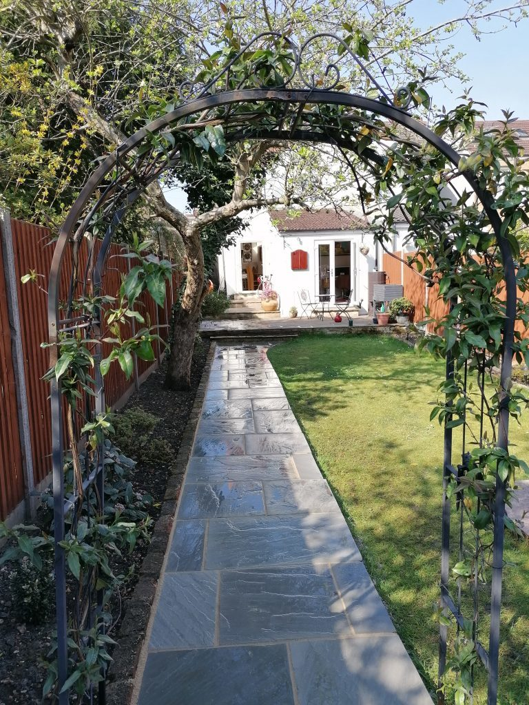 Modern Light Grey Indian Sandstone Garden Path with Buff Resin Pointing
